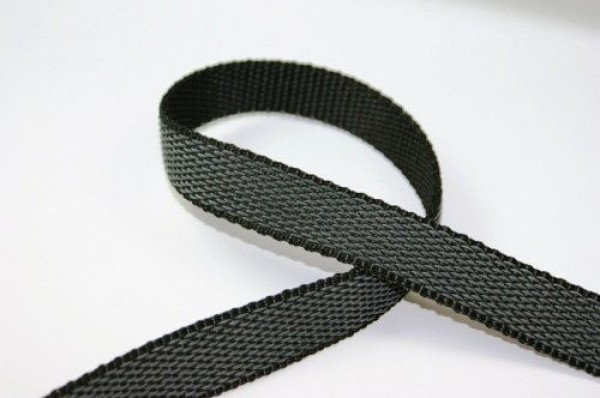 50m rubberized PP-webbing - 25mm wide - black