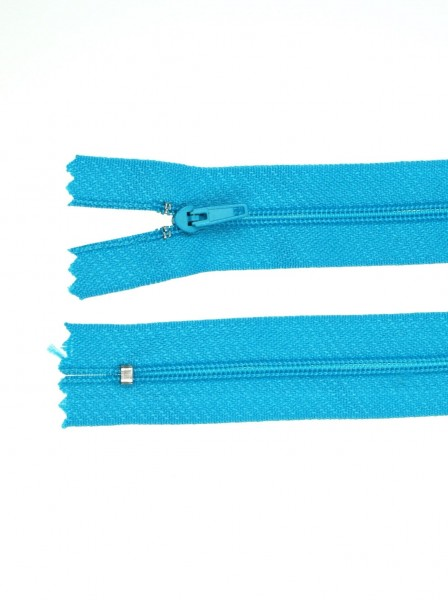 25 zippers 3mm - 20cm long - color: turquoise