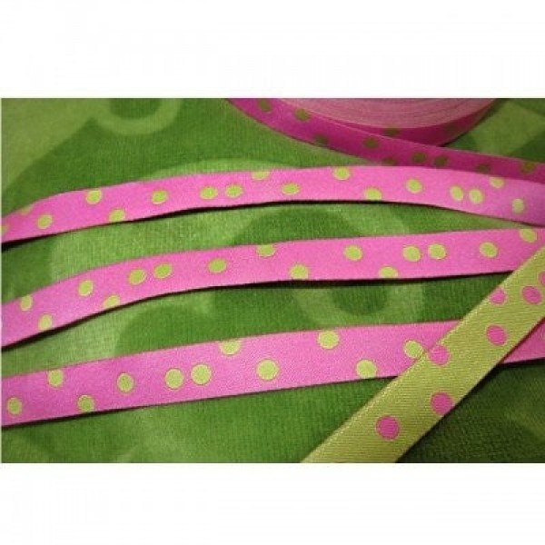 1m Webband Design by farbenmix - 10mm breit - Punkteband rosa/lime