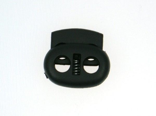 cord stopper - 2 holes - up to 4mm - 20mm wide - black - 10 pieces
