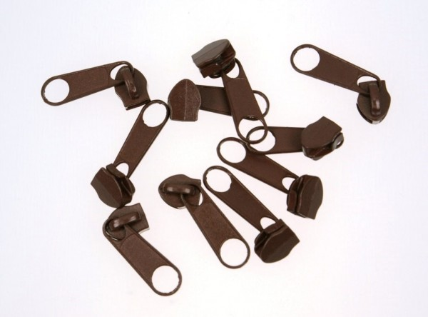 slider for 5mm zippers, color: chocolate brown - 10 pieces