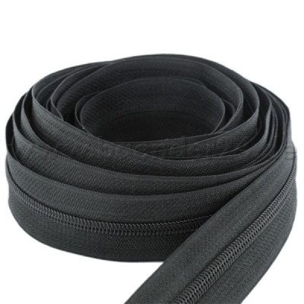 5m zip fastener, 3mm strip, Color: Black