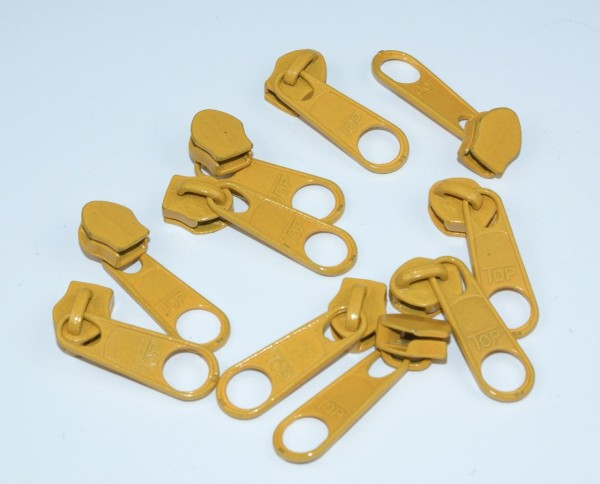 Slider for zippers with 5mm rail, color: mustardy yellow - 10 pieces