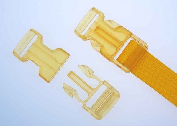 25mm buckle - yellow transparent - 5 pieces