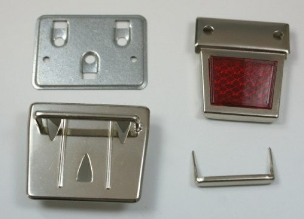 metal briefcase lock with red reflector - 1 piece