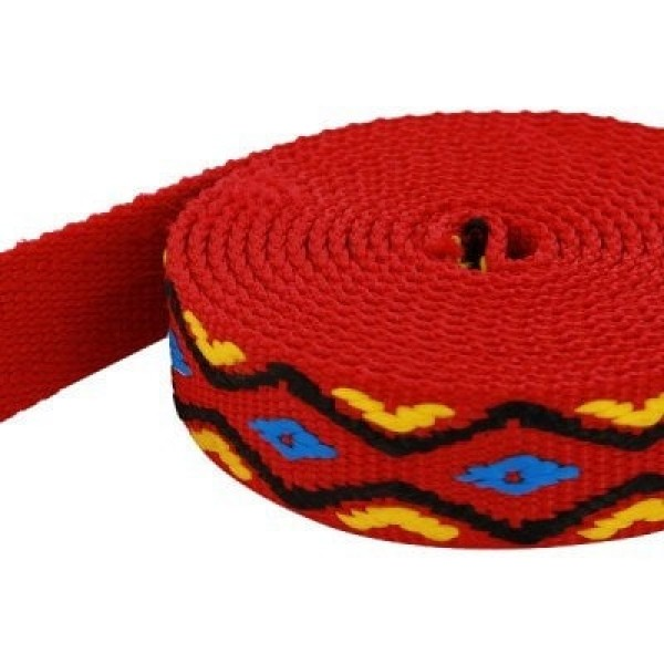 50m roll 4-colored PP webbing - blue/yellow/black on red webbing - 20mm wide