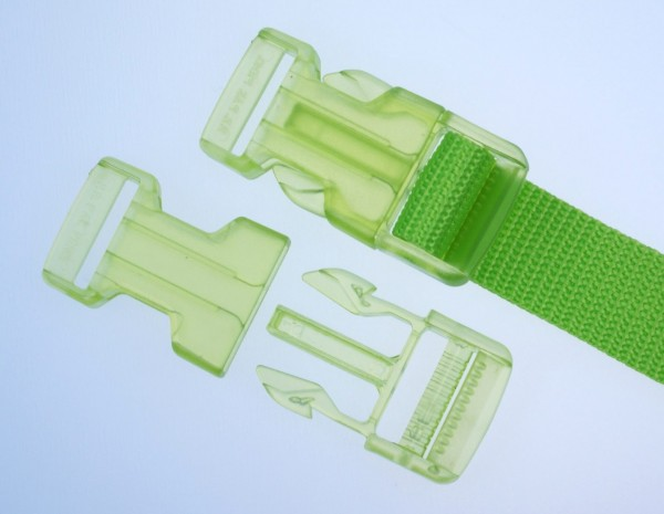 30mm buckle - lime transparent - 1 piece