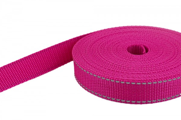 50m PP webbing - 30mm wide - 1,4mm thick - pink with reflective stripes (UV)