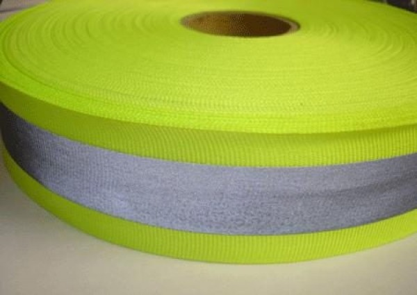 50m reflective ribbon 40mm wide - neon yellow - for sewing on