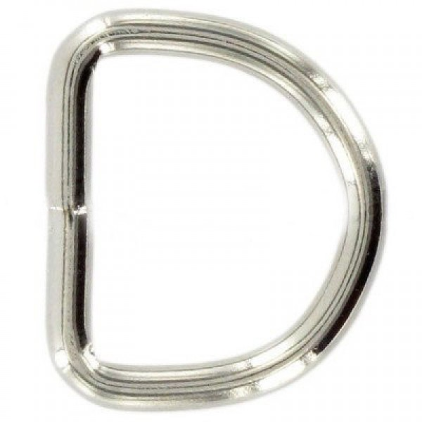 12mm D-rings welded made of steel, nickel-plated - 10 pieces