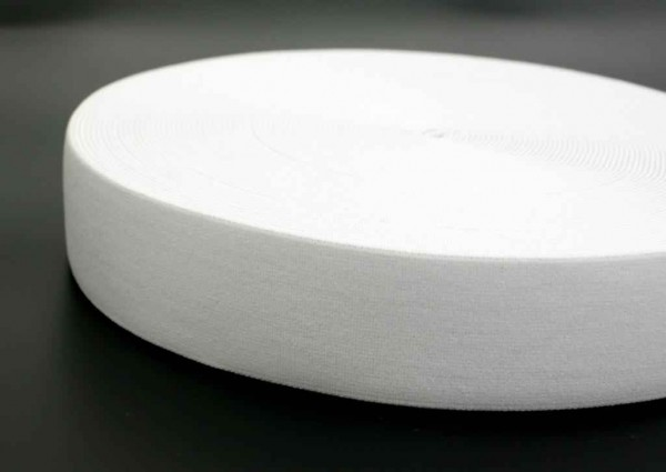 elastic webbing - 40mm wide - color: white - 3m roll