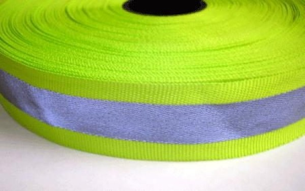 50m reflective ribbon 30mm wide - neon yellow - for sewing on
