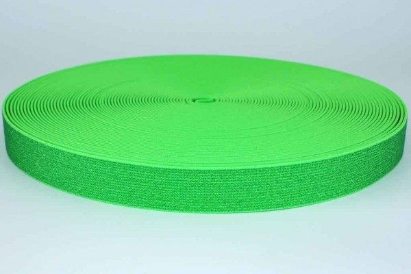elastic webbing with glitter - colour: neon green - 25mm wide - 3m length