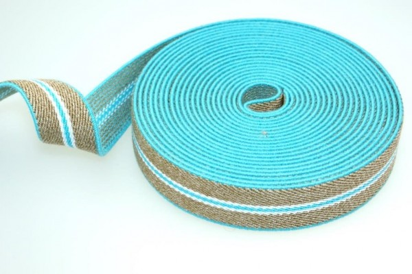 5m suspenders strap / elastic tape - color: turquoise / beige - 25mm wide