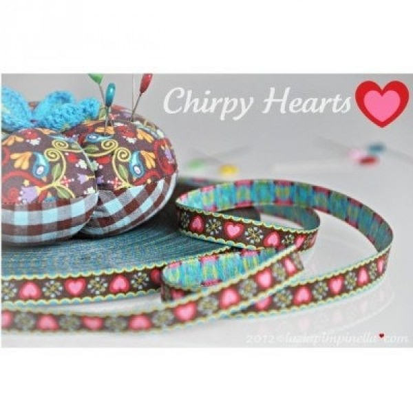 webbing design by luzia pimpinella, 12mm wide, chirpy Hearts