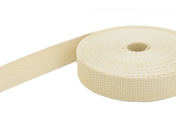 50m PP webbing - 50mm width - 1,4mm thick - cream (UV)