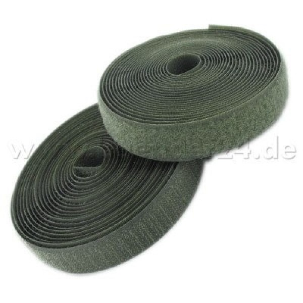 25m Velcro tape (loop & hook) 16mm wide, Color: khaki - for sewing on
