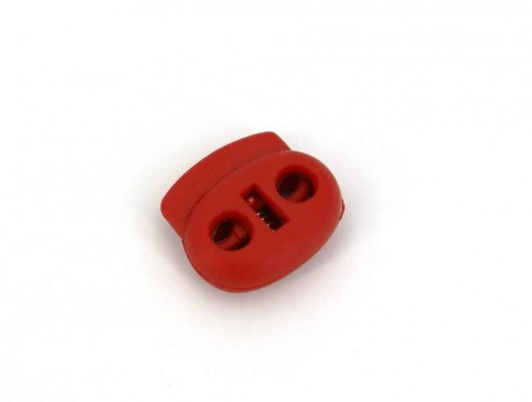 cord stopper - 2 holes - colour: red - up to 4mm - 20mm wide - 10 pieces