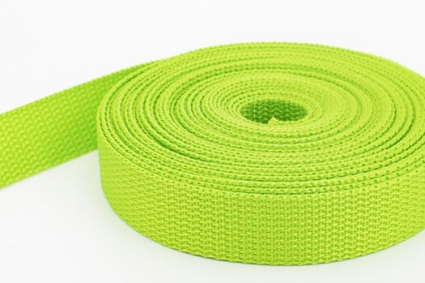 50m PP webbing - 25mm width - 1,2mm thick - lime (UV)