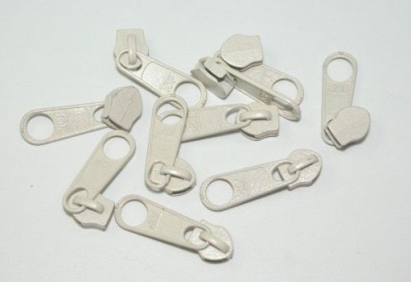 Slider for slide fastener with 5mm rail, color: cream - 10 pieces