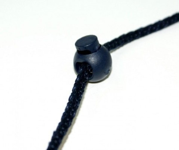 cord stopper mit 3mm hole, ball shape, dark blue, 1 hole - 10 pieces