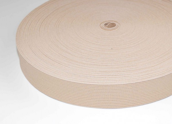20mm wide elastic webbing made of polyester - 25m roll - nature