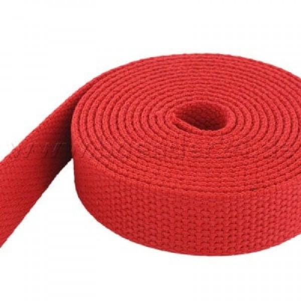 50m cotton webbing - 2,6mm thick - 38mm wide - colour: red