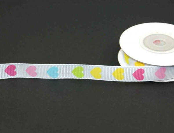 printed webbing - 12mm wide - 10m roll - colorful hearts