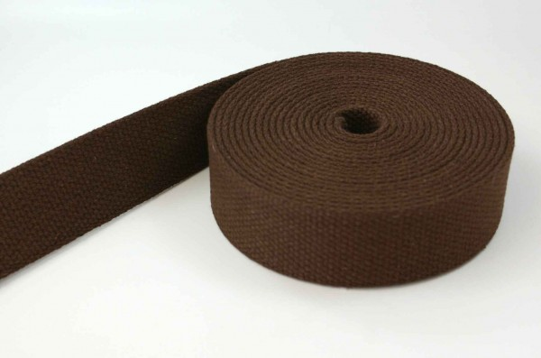 50m cotton webbing - 2,6mm thick - 28mm wide - colour: brown