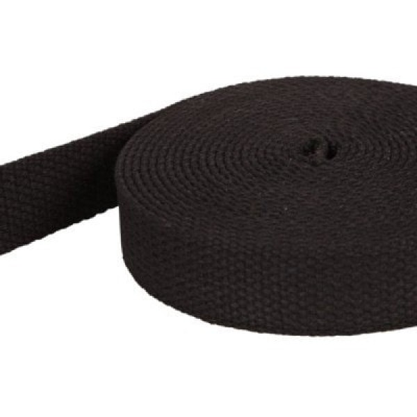 50m roll webbing made of cotton, color: black, 28mm wide
