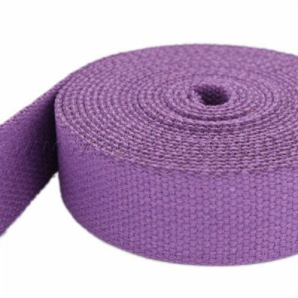 5m webbing made of cotton, color: lilac - 28mm wide