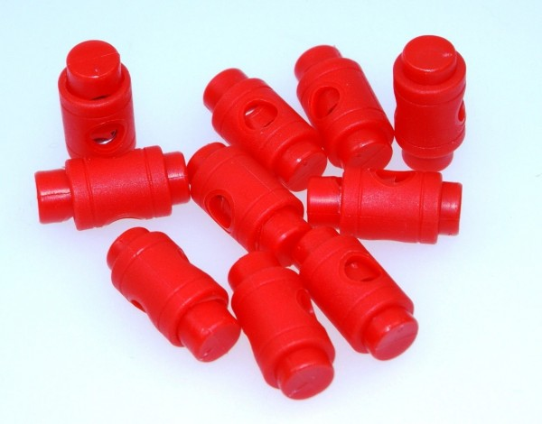 cord stopper - zylindric form for 5mm cords - red - 10 pieces