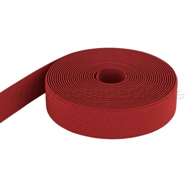 5m roll elastic webbing - color: red - 25mm wide