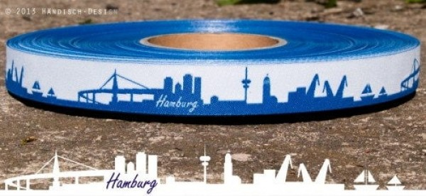 SKYLINE webbing - 16mm wide - HAMBURG blue/white