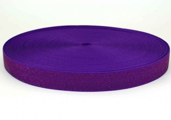 elastic webbing with glitter - colour: lilac - 25mm wide - 3m length