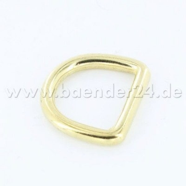 Brass D-rings, 20mm inner dimension, 4mm thick - 10 pieces