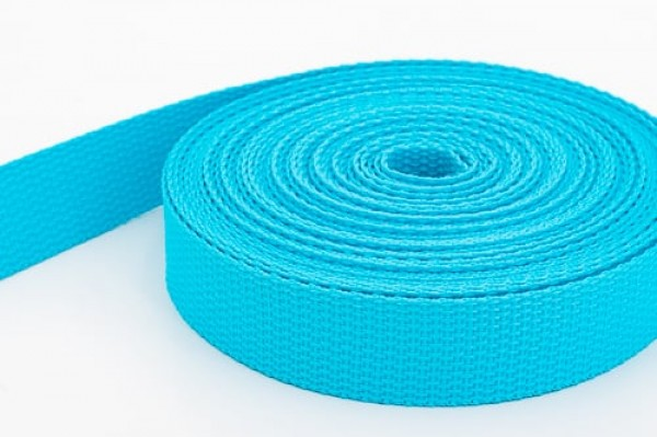 10m PP webbing - 25mm width - 1,2mm thick - turquoise (UV)