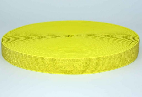elastic webbing with glitter - colour: yellow - 25mm wide - 3m length