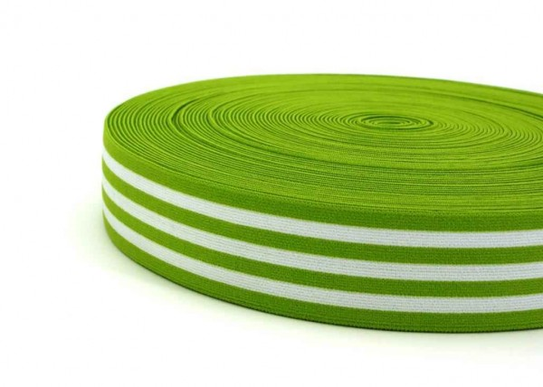 elastic webbing striped - 40mm wide - color: lime / white - 3m roll