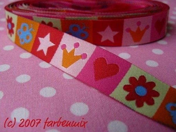 5m roll webbing design by Farbenmix, 15mm wide, Mixband mixed colors