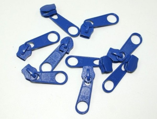 Slider for slide fastener with 5mm rail, color: blue - 10 pieces