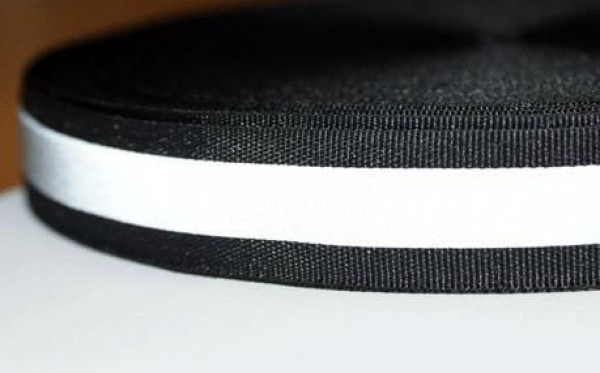 50m reflective ribbon 30mm wide - black - for sewing on