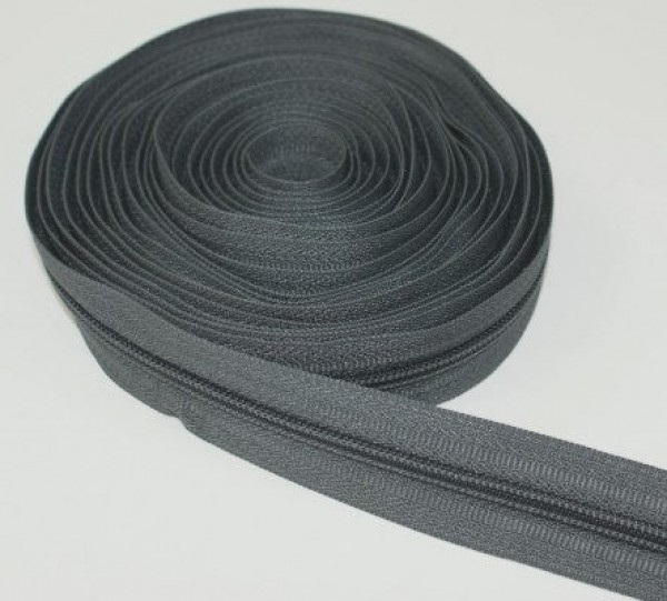 5m zipper, 8mm rail, color: dark gray