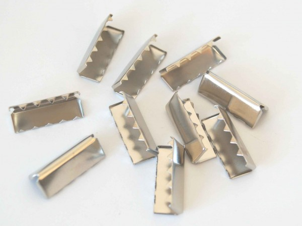 webbing ends made of metal - 25mm wide - color: silver - 10 pieces