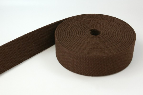 5m cotton webbing - 2,6mm thick - 28mm wide - colour: brown