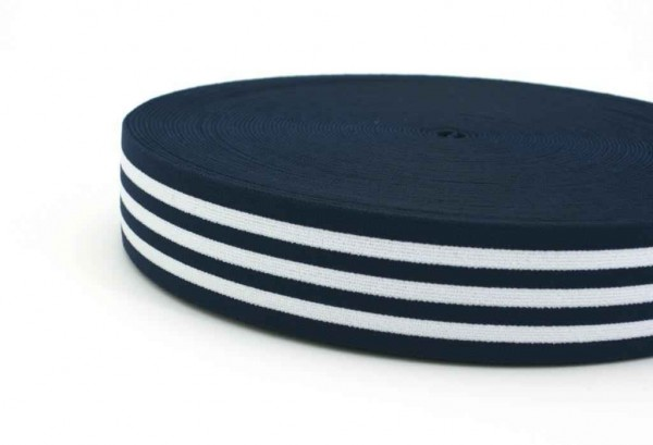 elastic webbing striped - 40mm wide - color: dark blue / white - 3m roll