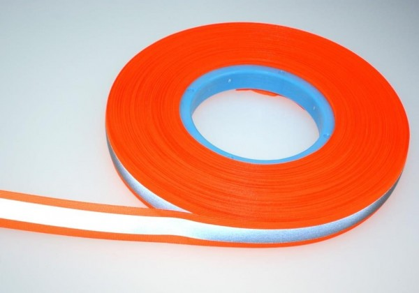 50m reflective webbing 50mm wide - neon orange - for sewing on