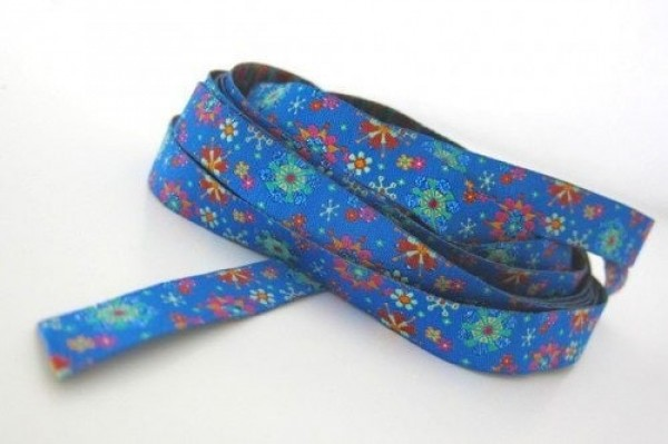 3m roll webbing, design by Eva, 12mm wide, mandala-flowers royalblue