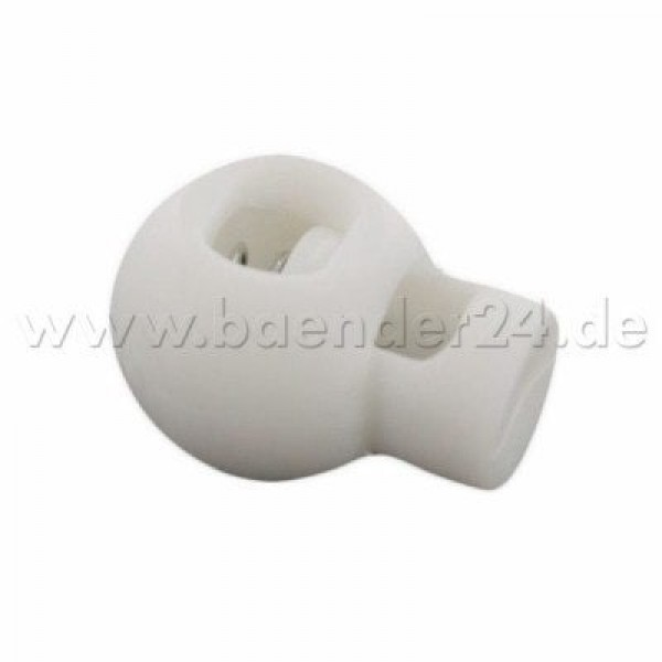 cord stopper with 3mm hole, ball shape, white, 1 hole - 10 pieces