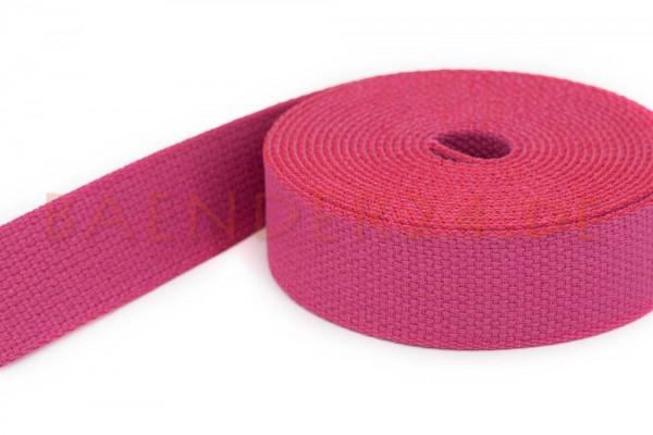 50m cotton webbing - 2,6mm thick - 28mm wide - colour: old rose